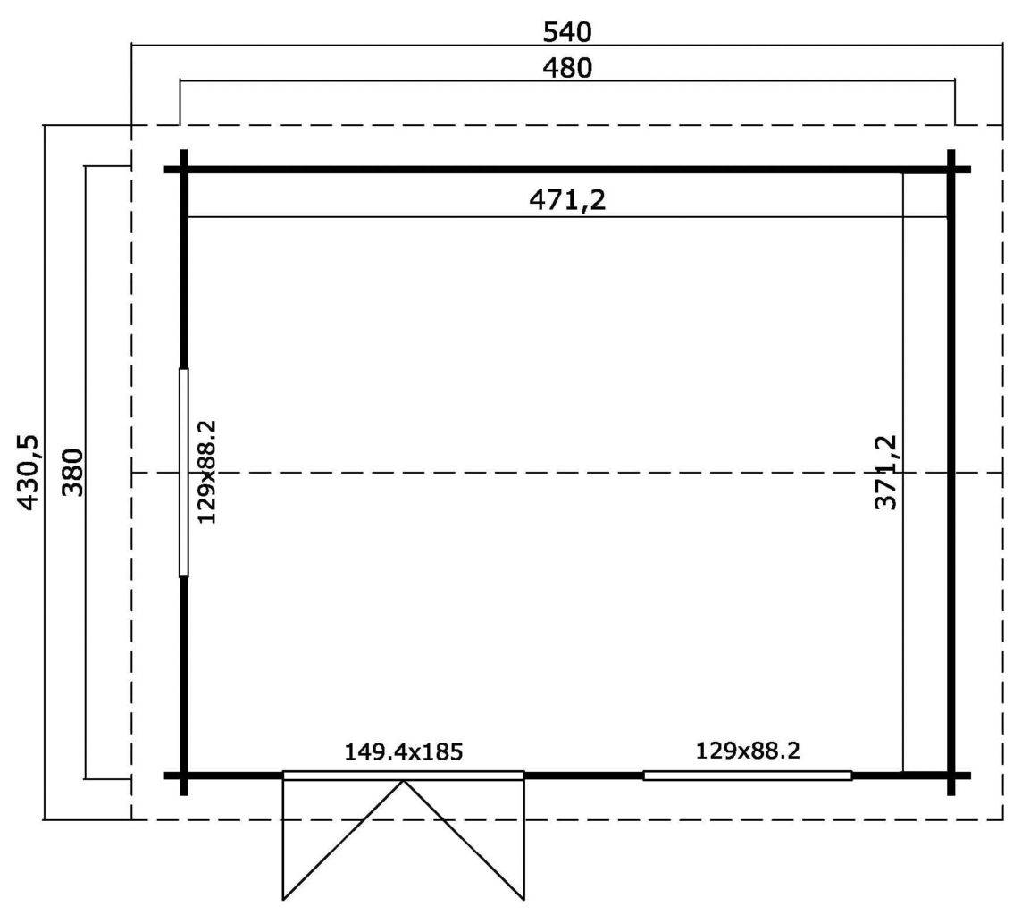 Záhradný domček Devonshire480x380 cm /44mm
