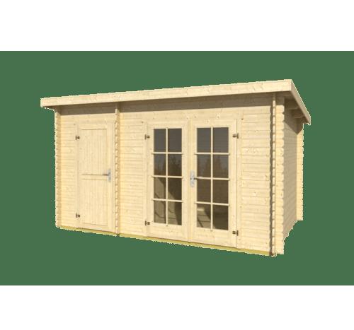 Záhraný domček s pultovou strechou